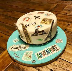 Travel cake gum paste fondant, Paris London New-York 30th Birthday Cake For Women, Birthday Cake For Boyfriend, Spiderman Birthday Cake, Baby Birthday Cakes, Dad Cake, 50th Cake, Goodbye Cake, New York Cake, Cake Design For Men