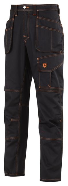 Flame #retardant safety with enhanced functionality. Advanced work #trousers with Twisted Leg™ design, superior certified knee protection and holster pockets convenience. Folded down hems and pocket covers prevent infiltration by #sparks. Conforms to EN11612. - Snickers Workwear Artnr. 3257