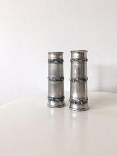 Cylinder Vase Norwegian Pewter Vase Metal Bud Vase Brødrene Mylius Made In Norway Scandinavian Pewter Metal Canister Industrial Style Vase
