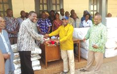 Dr Alhassan Ahmed Yakubu (right) handing over the medical supplies to Dr Benjamin Marfo