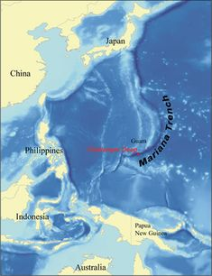 Map of the Challenger Deep that explores the deepest area known to man on earth, the Mariana Trench.  If Mount Everest were dropped into the trench, it would still be covered by over a mile of water.  Amazing!