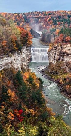 Middle Falls on the Genesee River in Letchworth State Park ~ Castile, New York, United States.