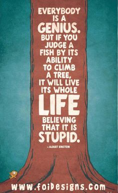 Everybody is a genius. But if you judge a Fish by its ability to climb a tree, it will live its whole LIFE believing it is stupid. -Albert Einstein