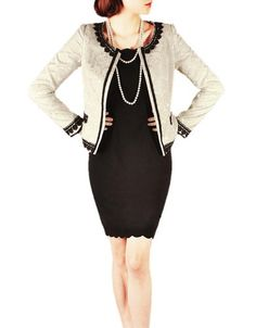 Purpura Erizo Womens Elegant White Floral Contrasting Trim Jacket