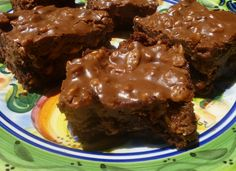 Today we delivered Hatchie Bottom Brownies with Peanut Butter Mud to friends who lost the patriach of their family . . .You know we Southern folks, always take food for the family and friends to enjoy following the funeral of a loved one. Just a little nourishment for the soul I suppose.  I had forgotten about this recipe - good grief, these things are sinfully delicious.