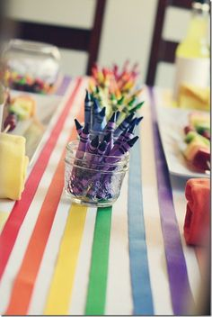 We are loving this crayon-themed rainbow birthday! How fun would this be in our party room? Transform white runner by adding ribbon in rainbow colors. (Could use runners from train party. Trolls Birthday Party, Troll Party, Art Birthday, 6th Birthday Parties, Unicorn Birthday, Birthday Ideas, Rainbow Unicorn Party, Rainbow Birthday Party, Rainbow Theme