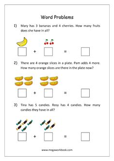 Addition and Subtraction Word Problems Worksheets For Kindergarten and Grade 1 - Story Sums - Story Problems - MegaWorkbook Math Addition Worksheets, First Grade Math Worksheets, Kindergarten Math Activities, Preschool, Math For First Graders, 1st Grade Math, Sixth Grade, Grade 1, Math Story Problems