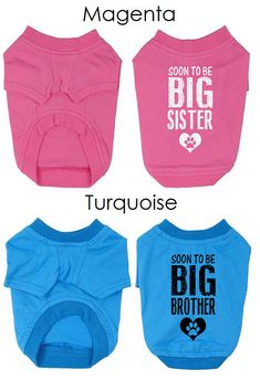 Two Dog T-Shirts. Custom Dog Clothing. Big Sister & Big Brother Dog Shirt. Gift for Expecting Mother.