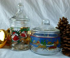 Vintage Two Glass Christmas Candy Dish Apothecary by Vintage42Day, $18.00