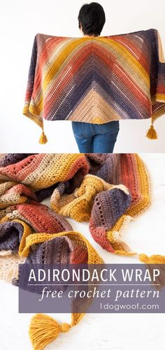 Gorgeous colors and a simple design make this the perfect on-the-go crochet project, and results in a long, light and flowing scarf wrap. | 1dogwoof.com