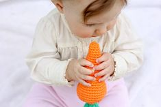 This free crochet baby toy pattern makes a perfect DIY baby shower gift or Easter basket gift idea, especially when paired with our free crochet bunny hat. Crochet Baby Toys, Crochet Bunny, Free Crochet, Sewing Patterns, Crochet Patterns, Crochet Ideas, Easter Gift Baskets, Basket Gift, Bunny Hat