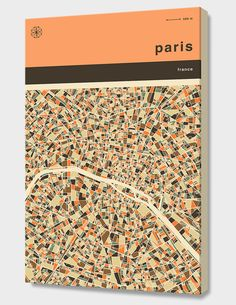 """""""Paris Map"""", Numbered Edition Canvas Print by Jazzberry Blue - From $69.00 - Curioos"""