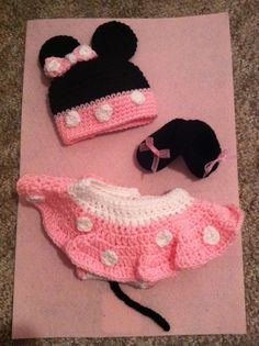 Pink Newborn Baby Crochet Minnie Mouse Hat Diaper by BuyBillerman, $65.00