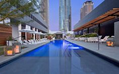 Beat the Texan heat at the W Austin's WET pool deck, complete with outdoor showers, lounge chairs, cabanas, and tanning shelves.