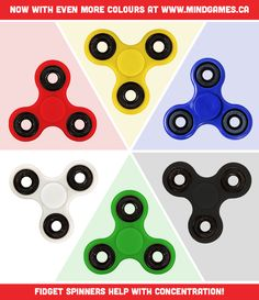 Fidget Spinners - Now With More Colours Than Ever! Buy Now At http://mindgames.ca/fidget-spinner Deceptively simple, the fidget spinner is the hottest toy of 2017! Learn all the tricks and wow friends + family! Fidget spinners also help reduce stress + anxiety while building concentration! Great for kids of all ages and those of us still kids at heart!