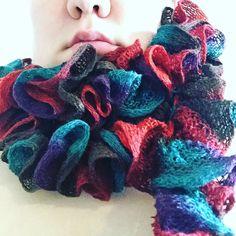 New crocheted frillyscarf in Katia Ondas yarn