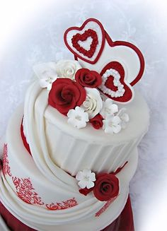 Valentine's Day Wedding Cake with Red and White Hearts and Roses