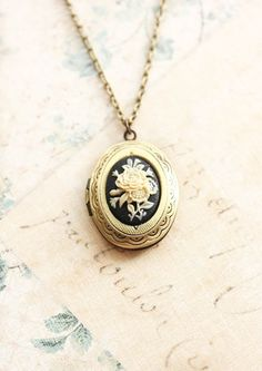 Locket Necklace Black Cameo Necklace Ivory Flower Black Cameo Pendant Necklace Antique Gold Brass Oval Vintage Style Photo Locket