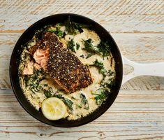 Za'atar salmon baked in tahini - Yotam Ottolenghi's recipes for one Yotam Ottolenghi, Ottolenghi Recipes, Salmon Recipes, Fish Recipes, Seafood Recipes, Recipies, Feta, Tahini Recipe, Cooking Jasmine Rice
