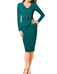 Senfloco Women's Vintage Long Sleeve V-Neck Office Business Party Bodycon Dress at Amazon Women's Clothing store: