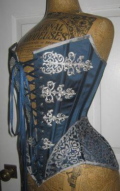 18th Century inspired silk satin corset 22 waist by wytephantom
