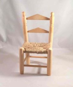 Mini Wooden Ladder Chair Doll Display Furniture Wicker Seat Farmhouse Prairie