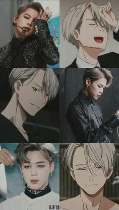 Viktor is secretly BTS member Jimin! Or *gasp* is it the other way around? Anime Meme, Otaku Anime, Funny Anime Pics, Anime Guys, Manga Anime, Bts Taehyung, Bts Bangtan Boy, Bts Boys, Bts Jimin