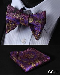 GC11 PURPLE Floral 100% Silk Butterfly Tie Self Tie Bow Tie Pocket Square Bow tie Set