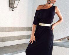 Maxi abito nero / nero Abito / Maxi abito / vestito da sera / vestito da partito / Plus Size vestito / abito sciolto / asimmetrica abito / #35003