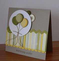 Creative Inspirations--green and yellows with buttons and balloons