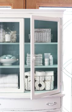 Armoire China Cabinet Update in A Bit of Sugar by Behr from confessionsofaser. Paint Furniture, Bathroom Furniture, Furniture Makeover, Bathroom Cabinets, Dresser Makeovers, Space Furniture, Furniture Storage, Bathroom Vanities, Bathroom Storage