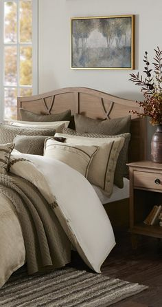 Create the perfect bedroom by adding this Madison Park Signature Chateau comforter set to your room. In linen. Rustic Comforter Sets, Rustic Bedding, Luxury Bedding Sets, Woodsy Decor, Modern Rustic Decor, Rustic Design, Fall Decor, Neutral Bedding, Comforters