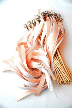 75 Wedding Ribbon Bell Wands  Send Off Bells   by DivinityBraid
