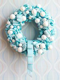 Tiffany's wreath--ribbon with white ornaments