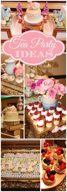 What a gorgeous pink tea party with beautiful cookies!  See more party ideas at CatchMyParty.com!