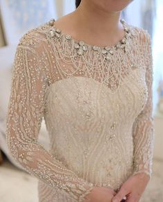 51 best ideas for bridal wear maroon Kebaya Lace, Kebaya Dress, Myanmar Traditional Dress, Traditional Dresses, Batik Dress, Lace Dress, White Wedding Gowns, Wedding Dresses, Wedding Hair