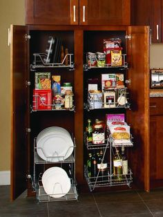 Pantry Organization Made Easy: Store your dishes right alongside your nonperishables with wire racks made especially to keep plates safe and sound.  From DIYnetwork.com