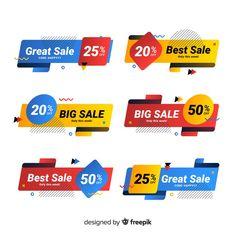Colorful memphis sale banner pack Free Vector Social Media Banner, Social Media Design, Poster Background Design, Web Banner Design, App Ui Design, For Sale Sign, Sale Banner, Banner Template, Badge