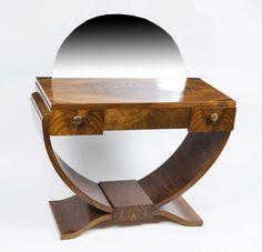 Antique French Art Deco Walnut Dressing Table c.1925