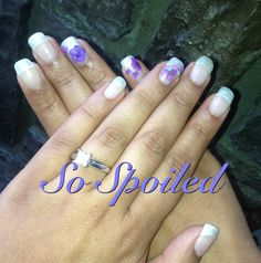 So Spoiled Gel Nail Art & Design - Bio Sculpture Full sculptured bridal nails in 2052 Ivory Satin French with multi tone purple dried flower inlay. Definitely going to miss all of the elegant summer wedding art of 2013!