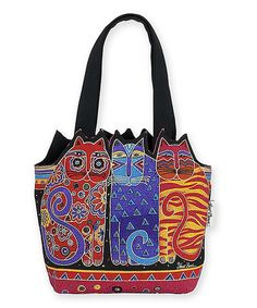 Laurel Burch  Medium Tote Handbag With Side Pockets Blue Cat Faces New