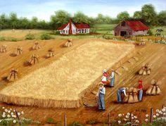 Folk Art Landscapes | The Wheat Field Folk Art Landscape Memory painting by Arie Reinhardt ...