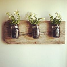 #DIY mason jar wall planter! If you love to DIY, you'll love http://www.BrightNest.com. Sign up for free!