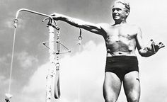 Joseph Pilates, founder of pilates, with what appears to be an early reformer-type apparatus. This site has some really neat history about my favorite exercise technique :) One of my favorites: Pilates rigged hospital beds so that bed-ridden patients could still exercise. Awesome! Truly the technique for everyone at every level!