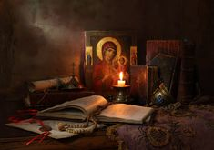 Still Life with icon, books and candle by Andrey Morozov Lives Of The Saints, Protection Spells, The Kingdom Of God, Blessed Mother, Spiritual Life, Christian Life, Word Of God, Holy Spirit, Still Life