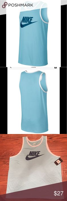 Men's Nike Logo Graphic Tank •relaxed Crew Neckline  •sleeveless  •Logo at Chest •Contrast trim white trim •50% Polyester 25% Cotton 25% Rayon •Machine washable  •Color: Still Blue/ White trim around arms and neck   🌻NO TRADES 🌻OFFERS WELCOMED! 🌻BUNDLE TO SAVE  🌻FEEL FREE TO ASK ANY QUESTIONS Nike Shirts Tank Tops