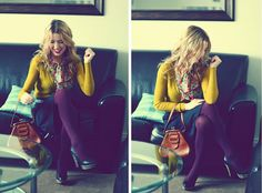mustard cardi, purple tights