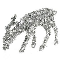 Picture of 9in Silver Standing Bowed Glitter Deer