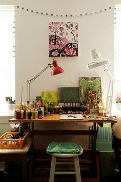 You/ art studio at home, studio desk, home art, studio table, small art Workspace Inspiration, Room Inspiration, Inspiration Boards, Design Inspiration, Home Design, Design Ideas, Design Design, Design Room, Deco House
