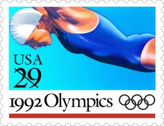 This Swimming stamp is one of five Olympic Games stamps issued in 1992.